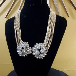 Ann Taylor Gold Floral Rhinestone Necklace #416